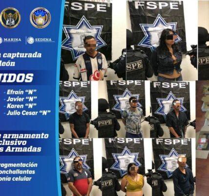A los nueve integrantes del grupo criminal les fueron aseguradas armas largas y cortas, cartuchos, una granada de fragmentación, estrellas ponchallantas y más de 600 dosis de diversas drogas